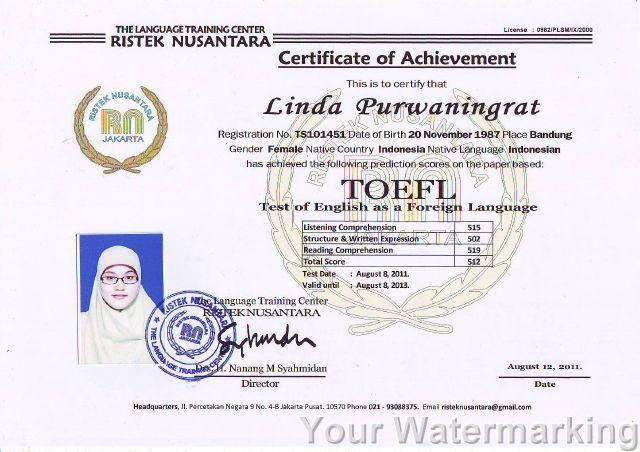 Menerima Pendaftaran Sekolah Sertifikat Toefl 2 087780320246