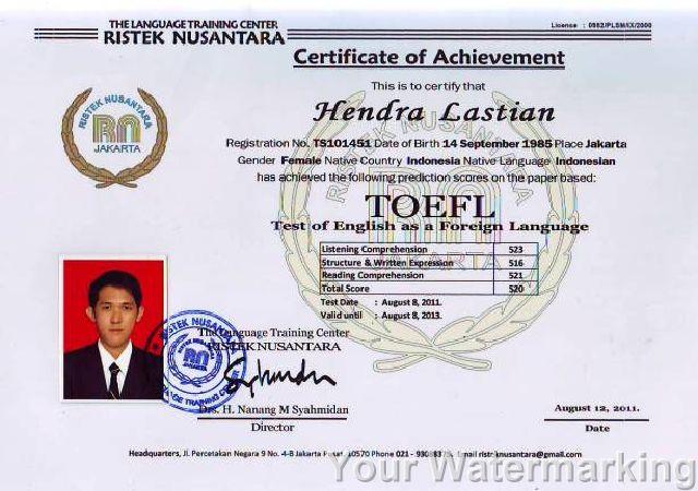 Menerima Pendaftaran Sekolah Sertifikat Toefl 3 087780320246